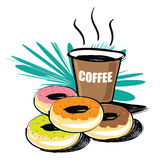 Set of donut  hand drawn Stock Images