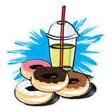 Set of donut  hand drawn Royalty Free Stock Photos