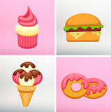 Set donut icon with pink glaze, Strawberry Muffin Stock Photography
