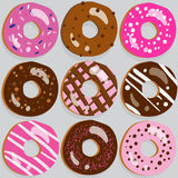 Set of 9 donut icons with different toppings Royalty Free Stock Photos