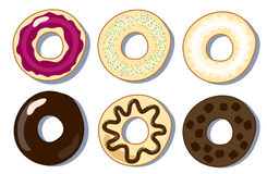 Set of donuts flat vector illustration, donuts collection Stock Photography