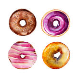 The set of donuts with glazes isolated on white background, watercolor illustration set. In hand drawn style Royalty Free Illustration