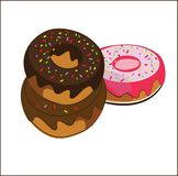 Set donuts isolated. doodle style Royalty Free Stock Photography