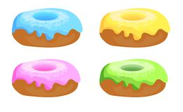 Set of donuts. Hand drawn vintage doughnuts. Blue, yellow, pink and green donuts with icing. VECTOR set. Set of donuts isolated on white. Hand drawn vintage Stock Photos