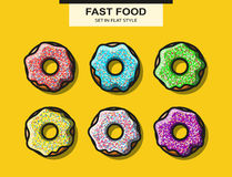 Set of donuts with powder in flat style Royalty Free Stock Image