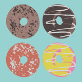 Set of donuts in vector. Chocolate donut royalty free illustration
