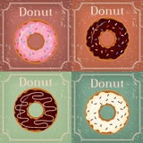 Set of Donuts on vintage background -  illustration Royalty Free Stock Photos