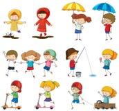 Set doodle żartuje charakteru ilustracji