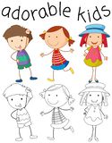 Set of doodle adorable kids vector illustration