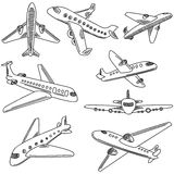 Set of doodle airplanes. Hand draw icons Royalty Free Stock Photo