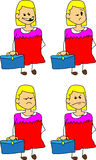Set of doodle angry business woman with a briefcase Royalty Free Stock Photos