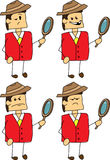 Set of doodle angry detective businessman Royalty Free Stock Photos