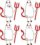 Set of doodle angry devil ghost Royalty Free Stock Image