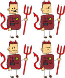 Set of doodle angry devil robot, android Royalty Free Stock Photo