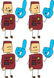Set of doodle angry robot, android sports fan with glove Royalty Free Stock Image
