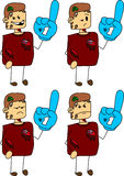 Set of doodle angry zombie sports fan with glove Stock Photography