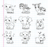 Set of doodle animal icons Stock Photo