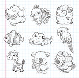 Set of doodle animal icons Stock Image