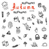 Set of doodle autumn icons - vector Royalty Free Stock Images
