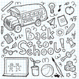 Set of doodle back to school elements. Vector illustration Royalty Free Stock Photo