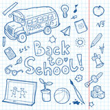 Set of doodle back to school elements. Vector illustration Stock Images
