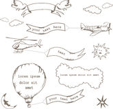 Set of doodle banners. Set of doodle ribbon banners with planes, birds and etc Royalty Free Stock Photos