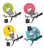 Set of doodle birds on the tree. Royalty Free Stock Images