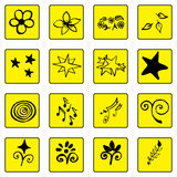 Set of doodle black outline yellow background icons, abstract , Royalty Free Stock Images