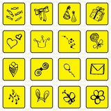 Set of doodle black outline yellow background icons, congratulations theme Stock Image