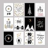 Set doodle bożych narodzeń kartka z pozdrowieniami Wektorowa ręka rysująca śliczna ikona Skandynawa styl Xmas drzewo, domy, girla royalty ilustracja