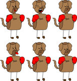 Set of doodle boxer dog with facial expressions Royalty Free Stock Photography
