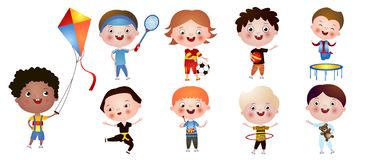 Set of funny cute boys with different activities and hobbies isolated on white background royalty free illustration