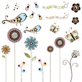 Set of Doodle Bugs and Flowers Royalty Free Stock Images