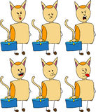 Set of doodle business cat with a briefcase, with facial expressions Stock Photos