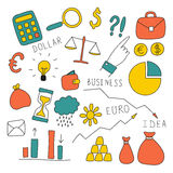 Set of doodle business and finance elements stock illustration