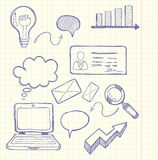 Set of doodle business management Stock Photos