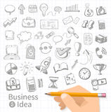 Set of doodle business management Royalty Free Stock Photo