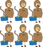 Set of doodle business monkey with a briefcase, with facial expressions Royalty Free Stock Photos