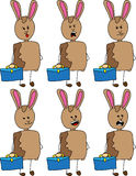 Set of doodle business rabbit with a briefcase, with facial expressions Stock Photos