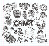 Set of doodle candy icons Royalty Free Stock Image