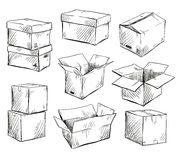 Set of doodle cardboard boxes. Vector illustration. Stock Image