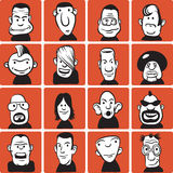 Set of doodle cartoon faces Royalty Free Stock Image