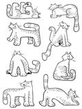 Set with doodle cats. Collection with domestic pets in incomlete Royalty Free Stock Photos