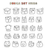 Set 25 doodle cats with different emotions handmade. Cat face Royalty Free Stock Image