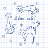 Set of doodle cats. Royalty Free Stock Photo