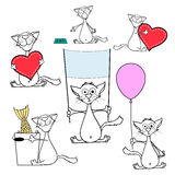 Set of doodle cats. Isolated on white background. Stock Vector c. Artoon illustration Royalty Free Stock Images