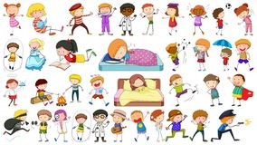 Set of doodle character. Illustration royalty free illustration