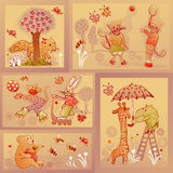 Set of doodle characters having fun. Young animal doodle characters in fun situations Royalty Free Stock Photography