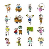 Set of doodle children Stock Image