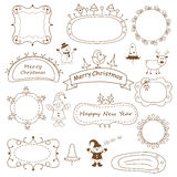 Set of doodle Christmas frames. Isolated over white Stock Images